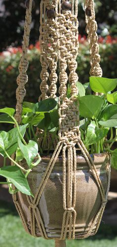 ENCHANTMENT - Handmade Macrame Plant Hanger Holder with Wood Beads - 4mm Braided…