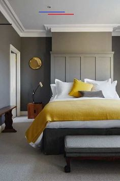 Bedroom ideas - #graybedroomwithpopofcolor - Bedroom ideas, design and decorating inspiration from the House & Garden archive... Yellow Bedroom Paint, Best Bedroom Paint Colors, Bedroom Color Schemes, Colour Schemes, Stylish Bedroom, Bedroom Small, Home Decor Bedroom, Bedroom Ideas, Bedroom Inspo