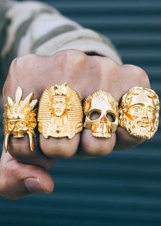Such unique and edgy rings! #men'sjewelry
