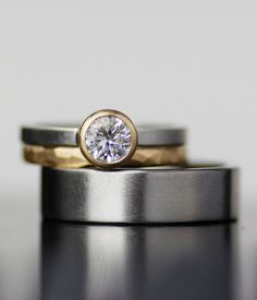 Modern wedding band set  unique palladium and gold by lolide