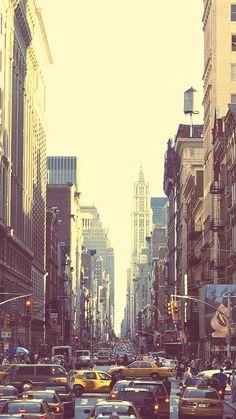 New York Busy Street Sunset iPhone 6 Wallpaper