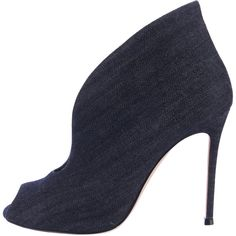 Pre-owned Gianvito Rossi Booties ($310) ❤ liked on Polyvore featuring shoes, boots, ankle booties, blue, denim boots, blue boots, peep-toe boots, blue denim boots and peeptoe boots