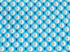 Vintage Fabric Fat Quarter Daisy Pattern Blue Gray White Black FQ