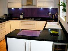 Dark purple splash back with white cupboards and black bench top. Granite Kitchen, Glass Kitchen, Kitchen Countertops, Kitchen Dining, Kitchen Design Gallery, Modern Kitchen Design, Purple Kitchen, Kitchen Colors, Open Plan Kitchen