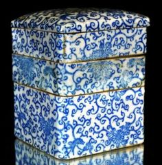 Four Tier Antique Chinese Blue and White Porcelain Meal Container