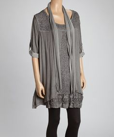 Love this Charcoal Floral Lace Ribbed Tunic Set - Women & Plus by Aziza on #zulily! #zulilyfinds