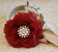 Burgundy Floral Dog Collar, Burgundy and Champagne wedding, Pet wedding accessories, Dog Lovers, Pearl and rhinestone floral collar