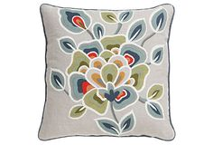 Embroidered Nordic styling.Botanical Provence Pillow.