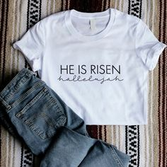 """www.gaffren.com - There is still time to order your """"He Is Risen"""" shirts before Easter! † Choose from the fitted ladies style, relaxed ladies style in a v neck and crew, and a unisex/men's style. ❤"""