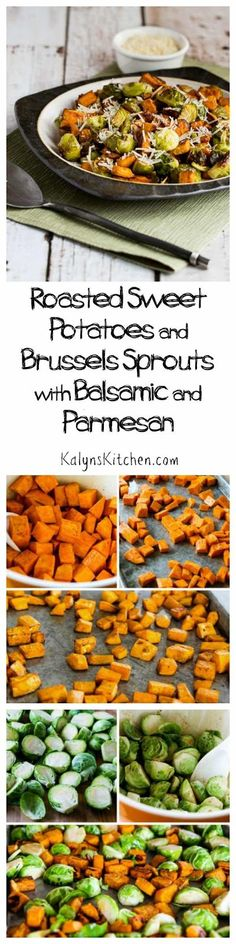I love the combination of flavors in these Roasted Sweet Potatoes and Brussels Sprouts with Balsamic and Parmesan. We enjoyed this with Parmesan, but it would also be good with Feta, and this is perfe Veggie Side Dishes, Vegetable Sides, Healthy Cooking, Healthy Eating, Cooking Recipes, Roasted Sweet Potatoes, Parmesan Potatoes, Vegetarian Recipes, Healthy Recipes
