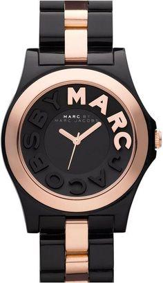 Marc By Marc Jacobs Rivera Resin Bracelet Watch in Black (black/ rose gold) - Lyst #goldwatch #watchfemale #watchwomen #watches