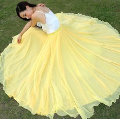 Bright Yellow  Wedding Long Chiffon skirt Maxi Skirt by LYDRESS