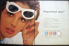 Big White Sunglasses Mod fashion glamour girl Kotex 1963 Print Ad on Etsy, $6.95