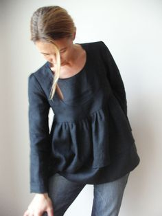 Bow Window Linen Blouse, Blue Twilight - $ 95 - Isabel Amyo