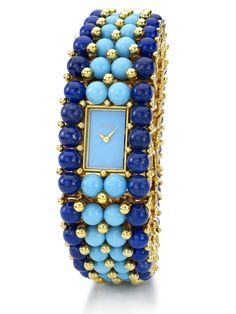 PIAGET Watch in yellow gold, lapis lazuli pearls and turquoise (=) Turquoise Jewelry, Bling Jewelry, Vintage Jewelry, Ring Watch, Bracelet Watch, Piaget Jewelry, Pierre Turquoise, Art Deco Watch, Lapis Lazuli Jewelry