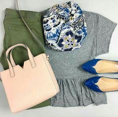 Blue, grey and blush