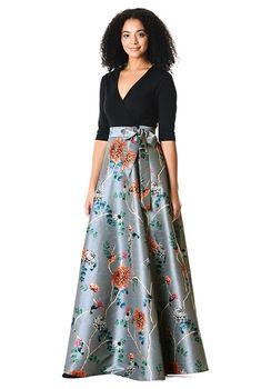 75676e5354f I  3 this Floral print dupioni and cotton knit maxi dress from eShakti