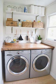 Tiny Laundry Rooms, Farmhouse Laundry Room, Laundry Room Organization, Laundry Room Design, Organization Ideas, Storage Ideas, Laundry Closet, Laundry Decor, Diy Storage