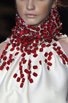 Giambatista Valli Red Stones on WhIte Satin embellishment