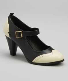 Black Wingtip Dora Mary Jane Pump by Chase & Chloe on #zulily