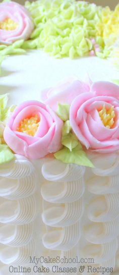 Beautiful Buttercream Floral Wreath & Piping Tutorial by MyCakeSchool.com! Online cake decorating classes & recipes!