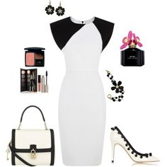 White & Black Pencil Dress Outfit created by tsteele