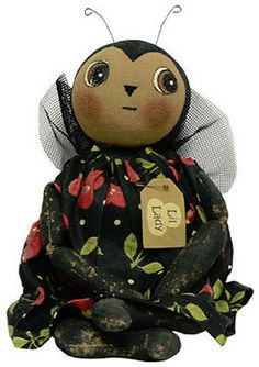 PRIMITIVE-FABRIC-LIL-LADY-BUG-DOLL-Country-Stuffed-Stitched-Baby-Doll-Decor