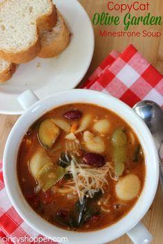 Copycat Olive Garden Minestrone Soup Best Soup Recipes, Healthy Soup Recipes, Vegetarian Recipes, Healthy Dinners, Healthy Foods, Favorite Recipes, Minestrone Olive Garden, Olive Gardens, Crock Pot Soup