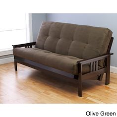 This unique and versatile queen size futon sofa is a classic hardwood frame with mission style arms and easily converts to a bed. This multi-functional piece of furniture can find a home in just about any type of room.