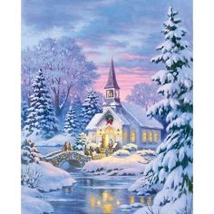 """""""Country Church"""" by Robert Gauthier-Christmas Painting Christmas Scenes, Christmas Past, Christmas Pictures, Winter Christmas, Xmas Holidays, Blue Christmas, Country Christmas, Illustration Noel, Christmas Illustration"""
