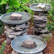 Stacked Stone Bird Baths (Garden of Len & Barb Rosen)