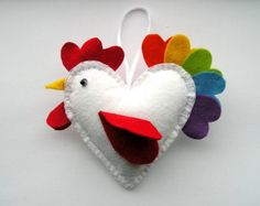 Felt Ornaments Easter Decoration Chicken Felt Bird Hearts, home decor, Felt Birds, felt heart, chicken decor