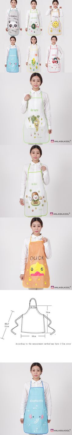 2018 Fashion Cartoon Cute grape Pattern Aprons PVC Waterproof Halterneck Sleeveless Apron