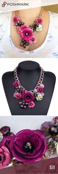 Floral statement necklace Gold and pink statement necklace. Adjustable clasp let's you choose a length. Very pretty, adds a little fun to each outfit. Jewelry Necklaces