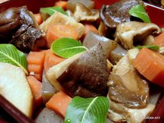 Japanese New Year Osechi food, box 3 : 金時人参 kintoki carrots   konnyaku   里芋 sato imo (taro)   shiitake mushroom