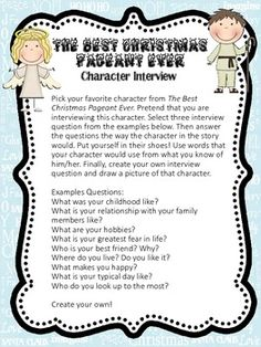 Character interview with one of the characters in the book The Best Christmas Pageant Ever.   We love reading this story in grade 3!  Images are from Scrappin Doodles License #TPT86850