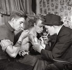 Men in a Tattoo Parlor, 1920s