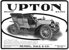 The The Upton Motor Company of Lebanon, Pennsylvania, was manufacturer of the Upton automobile, a five-passenger Touring Car. The company was founded in 1904 and ended production in 1907.[1]    This was the second automobile named Upton. The first was produced from 1900 to 1904 in Beverly, Massachusetts by the same designer, Colcord Upton and had similar features.