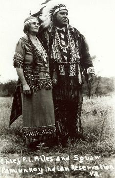 Chief P.L. Miles & wife at Pamunkey Indian Reservation