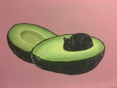 We love this painting, entitled The Pits, created by Danial Ryan. If the avocado is a SuperFood, then the Avogato is a SuperAwesomeFood, one that's both nutritious and a handy source of feline companionship. Contact Ryan through Instagram or Facebook...