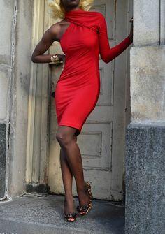 Asymmetrical Jersey Knit Dress by DanielaTabois Jersey Knit Dress, Jersey Dresses, Jumpsuit Dress, Bodycon Dress, My Favorite Color, Fashion Shoes, High Neck Dress, Classy, Formal Dresses