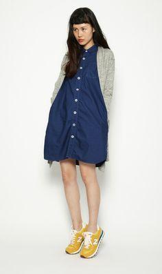 button dress + cardigan