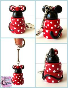 Do you love Minnie Mouse and cakes? This is the perfect keychain for a caker, Minnie Mouse fan, or both! Youll look SO CUTE Minnie Mouse Cake, Mickey Mouse, Polymer Clay Disney, Clay Figurine, Pasta Flexible, Disney Crafts, Mouse Parties, Minne, Clay Tutorials