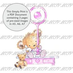 Bunny with Egg Basket Digital AS 3 Page PDF Ready to Print Document Lili of the Valley Full Colour Simply Print