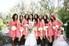 Coral bridesmaids and cowboy boots | Kimberly Loya Photography @Kimberly Peterson Loya