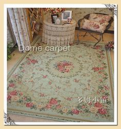 French Country Traditional Classic Chinese Floral Floor Mat Rug Carpet T  #FrenchCountry