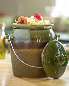 The perfect compost crock to be useful and also pretty on the kitchen counter