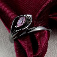 2015 Fine Jewelry Size 8 Black Gold Filled 10KT Pink Sapphire Rings For Women Lady's Gift Ring Fashion Jewelry Daihe