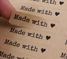 80 Typewriter Font MADE WITH LOVE Heart Rectangle by kawaiigoodies, $4.95