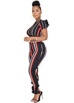14bd9fbad58 Multi-Color Stripe Ruffle Two Piece Set Pant Set Suits   Sets Sexy Lingeire